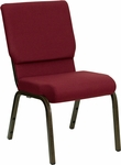 HERCULES Series 18.5''W Burgundy Fabric Stacking Church Chair with 4.25'' Thick Seat - Gold Vein Frame [XU-CH-60096-BY-GG]