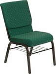 HERCULES Series 18.5''W Green Patterned Fabric Church Chair with 4.25'' Thick Seat, Book Rack - Gold Vein Frame [XU-CH-60096-GN-BAS-GG]