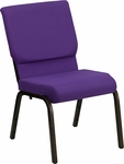 HERCULES Series 18.5''W Purple Fabric Stacking Church Chair with 4.25'' Thick Seat - Gold Vein Frame [XU-CH-60096-PU-GG]