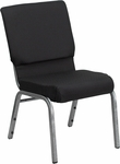 HERCULES Series 18.5''W Black Patterned Fabric Stacking Church Chair with 4.25'' Thick Seat - Silver Vein Frame [FD-CH02185-SV-JP02-GG]