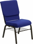 HERCULES Series 18.5''W Church Chair in Navy Blue Fabric with Book Rack - Gold Vein Frame [XU-CH-60096-NVY-BAS-GG]