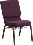 HERCULES Series 18.5''W Plum Fabric Church Chair with 4.25'' Thick Seat,Communion Cup Book Rack - Gold Vein Frame [FD-CH02185-GV-005-BAS-GG]
