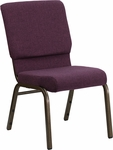 HERCULES Series 18.5''W Plum Fabric Stacking Church Chair with 4.25'' Thick Seat - Gold Vein Frame [FD-CH02185-GV-005-GG]
