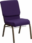 HERCULES Series 18.5''W Royal Purple Fabric Church Chair with 4.25'' Thick Seat,Communion Cup Book Rack - Gold Vein Frame [FD-CH02185-GV-ROY-BAS-GG]