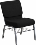 HERCULES Series 21'' Extra Wide Black Fabric Church Chair with 3.75'' Thick Seat,Book Rack - Silver Vein Frame [XU-CH0221-BK-SV-BAS-GG]