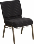 HERCULES Series 21'' Extra Wide Black Dot Patterned Fabric Church Chair with 4'' Thick Seat,Communion Cup Book Rack - Gold Vein Frame [FD-CH0221-4-GV-S0806-BAS-GG]