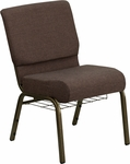 HERCULES Series 21'' Extra Wide Brown Fabric Church Chair with 4'' Thick Seat,Communion Cup Book Rack - Gold Vein Frame [FD-CH0221-4-GV-S0819-BAS-GG]