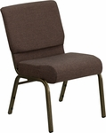 HERCULES Series 21'' Extra Wide Brown Fabric Stacking Church Chair with 4'' Thick Seat - Gold Vein Frame [FD-CH0221-4-GV-S0819-GG]
