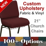 HERCULES Series 21'' Extra Wide Customizable Church Chair with Book Basket and Gold Vein Frame [FD-CH-21-GV-UNP-BAS-CUSTOM-GG]