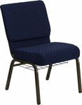 HERCULES Series 21'' Extra Wide Navy Blue Dot Patterned Fabric Church Chair with 4'' Thick Seat,Communion Cup Book Rack - Gold Vein Frame [FD-CH0221-4-GV-S0810-BAS-GG]
