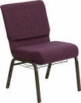 HERCULES Series 21'' Extra Wide Plum Fabric Church Chair with 4'' Thick Seat, Communion Cup Book Rack - Gold Vein Frame [FD-CH0221-4-GV-005-BAS-GG]