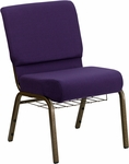 HERCULES Series 21'' Extra Wide Royal Purple Fabric Church Chair with 4'' Thick Seat,Communion Cup Book Rack - Gold Vein Frame [FD-CH0221-4-GV-ROY-BAS-GG]