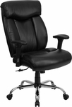 HERCULES Series 400 lb. Capacity Big & Tall Black Leather Executive Swivel Office Chair with Height Adjustable Arms [GO-1235-BK-LEA-A-GG]