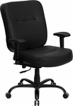 HERCULES Series 400 lb. Capacity Big & Tall Black Leather Executive Swivel Office Chair with Extra WIDE Seat and Height Adjustable Arms [WL-735SYG-BK-LEA-A-GG]