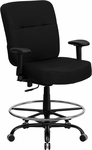 HERCULES Series 400 lb. Capacity Big & Tall Black Fabric Drafting Chair with Extra WIDE Seat and Height Adjustable Arms [WL-735SYG-BK-AD-GG]