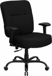 HERCULES Series 400 lb. Capacity Big & Tall Black Fabric Executive Swivel Office Chair with Extra WIDE Seat and Height Adjustable Arms [WL-735SYG-BK-A-GG]