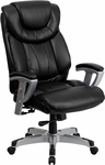 HERCULES Series 400 lb. Capacity Big & Tall Black Leather Executive Swivel Office Chair with Height & Width Adjustable Arms [GO-1534-BK-LEA-GG]