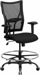 HERCULES Series 400 lb. Capacity Big & Tall Black Mesh Drafting Chair with Height Adjustable Arms [WL-5029SYG-AD-GG]