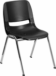 HERCULES Series 440 lb. Capacity Black Ergonomic Shell Stack Chair with Chrome Frame and 14'' Seat Height [RUT-14-BK-CHR-GG]