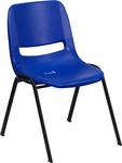 HERCULES Series 440 lb. Capacity Navy Ergonomic Shell Stack Chair with Black Frame and 12'' Seat Height [RUT-12-NVY-BLACK-GG]