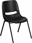 HERCULES Series 661 lb. Capacity Black Ergonomic Shell Stack Chair with Black Frame and 16'' Seat Height [RUT-16-PDR-BLACK-GG]