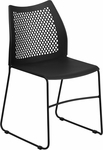 HERCULES Series 661 lb. Capacity Black Sled Base Stack Chair with Air-Vent Back [RUT-498A-BLACK-GG]