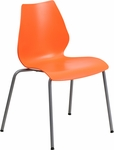 HERCULES Series 770 lb. Capacity Orange Stack Chair with Lumbar Support and Silver Frame [RUT-288-ORANGE-GG]
