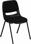 HERCULES Series 880 lb. Capacity Black Ergonomic Shell Stack Chair with Padded Seat and Back [RUT-EO1-01-PAD-GG]