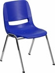 HERCULES Series 880 lb. Capacity Navy Ergonomic Shell Stack Chair with Chrome Frame and 18'' Seat Height [RUT-18-NVY-CHR-GG]
