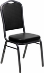HERCULES Series Crown Back Stacking Banquet Chair with Black Vinyl and 2.5'' Thick Seat - Silver Vein Frame [FD-C01-SILVERVEIN-BK-VY-GG]