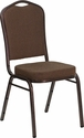HERCULES Series Crown Back Stacking Banquet Chair with Brown Patterned Fabric and 2.5'' Thick Seat - Copper Vein Frame