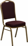 HERCULES Series Crown Back Stacking Banquet Chair with Burgundy Patterned Fabric and 2.5'' Thick Seat - Gold Frame [FD-C01-ALLGOLD-EFE1679-GG]