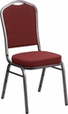 HERCULES Series Crown Back Stacking Banquet Chair with Burgundy Patterned Fabric and 2.5'' Thick Seat - Silver Vein Frame
