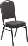 HERCULES Series Crown Back Stacking Banquet Chair with Gray Fabric and 2.5'' Thick Seat - Silver Vein Frame [FD-C01-SILVERVEIN-GY-GG]