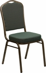HERCULES Series Crown Back Stacking Banquet Chair with Green Patterned Fabric and 2.5'' Thick Seat - Gold Vein Frame [FD-C01-GOLDVEIN-0640-GG]