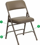 HERCULES Series Curved Triple Braced & Double Hinged Beige Vinyl Upholstered Metal Folding Chair [HA-MC309AV-BGE-GG]