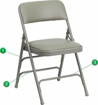 HERCULES Series Curved Triple Braced & Double Hinged Gray Vinyl Fabric Metal Folding Chair [HA-MC309AV-GY-GG]