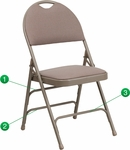 HERCULES Series Extra Large Ultra-Premium Triple Braced Beige Fabric Metal Folding Chair with Easy-Carry Handle [HA-MC705AF-3-BGE-GG]