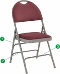 HERCULES Series Extra Large Ultra-Premium Triple Braced Burgundy Fabric Metal Folding Chair with Easy-Carry Handle [HA-MC705AF-3-BY-GG]