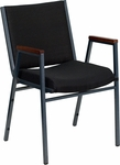 HERCULES Series Heavy Duty,3'' Thickly Padded,Black Patterned Upholstered Stack Chair with Arms and Ganging Bracket [XU-60154-BK-GG]