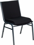 HERCULES Series Heavy Duty,3'' Thickly Padded,Black Patterned Upholstered Stack Chair with Ganging Bracket [XU-60153-BK-GG]