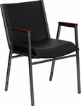 HERCULES Series Heavy Duty,3'' Thickly Padded,Black Vinyl Upholstered Stack Chair with Arms and Ganging Bracket [XU-60154-BK-VYL-GG]