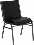 HERCULES Series Heavy Duty,3'' Thickly Padded,Black Vinyl Upholstered Stack Chair with Ganging Bracket [XU-60153-BK-VYL-GG]
