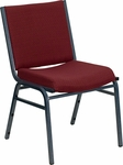HERCULES Series Heavy Duty,3'' Thickly Padded,Burgundy Patterned Upholstered Stack Chair with Ganging Bracket [XU-60153-BY-GG]
