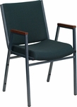 HERCULES Series Heavy Duty,3'' Thickly Padded,Green Patterned Upholstered Stack Chair with Arms and Ganging Bracket [XU-60154-GN-GG]