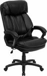 High Back Black Leather Executive Swivel Chair with Arms [GO-1097-BK-LEA-GG]