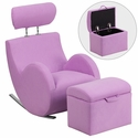 HERCULES Series Lavender Fabric Rocking Chair with Storage Ottoman