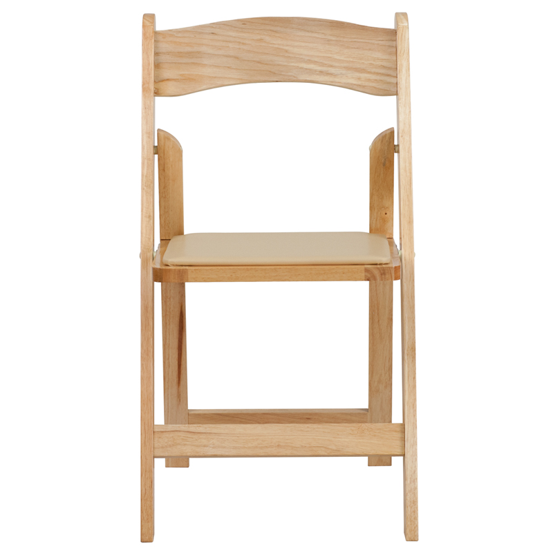 HERCULES Series Natural Wood Folding Chair with Vinyl Padded Seat XF 2903 NA