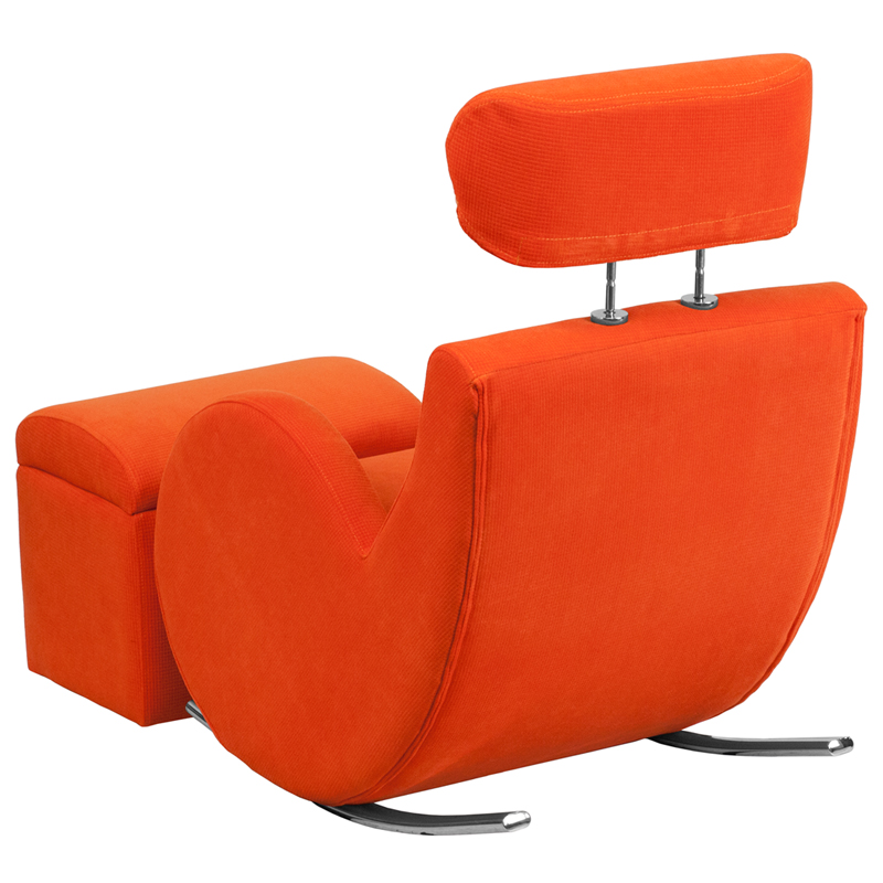 HERCULES Series Orange Fabric Rocking Chair with Storage
