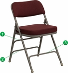 HERCULES Series Premium Curved Triple Braced & Double Hinged Burgundy Fabric Upholstered Metal Folding Chair [HA-MC320AF-BG-GG]